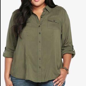 Torrid Army Green Studded Button Up Shirt